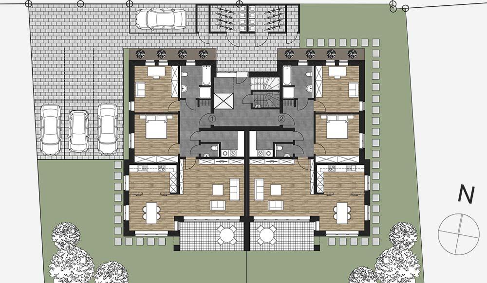 Moderne Architektur Innenarchitektur Bauplanung Schlusselfertig Projektentwicklung Generalunternehmer Generalubernehmer Bautrager Grundriss Erdgeschoss